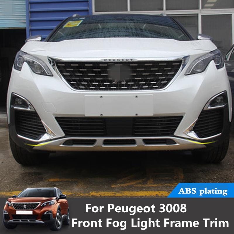 For Peugeot 3008 3008GT 2016 2017 2018 2019 Front fog light frame trim light eyebrow ABS Chrome front head fog light lamp cover title=