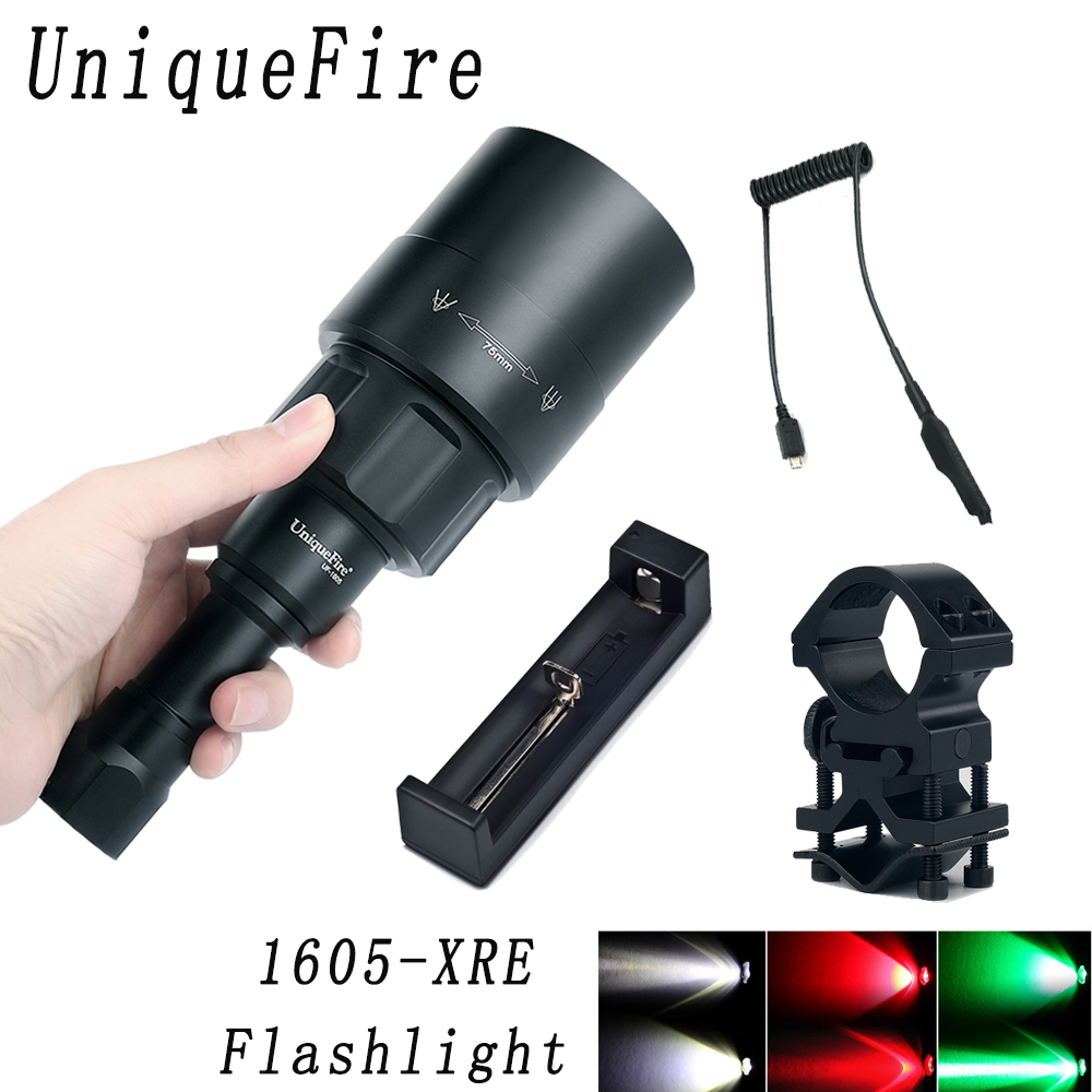 UniqueFire 1605 75mm CREE XRE 3 Modes LED (Red/White/Green Light) 240 Lumens Torch Zoomable KIT SET for Camping and Hunting uniquefire 1503 led flashlight cree xre green red white light led torch 50mm convex lens 3 mode for camping