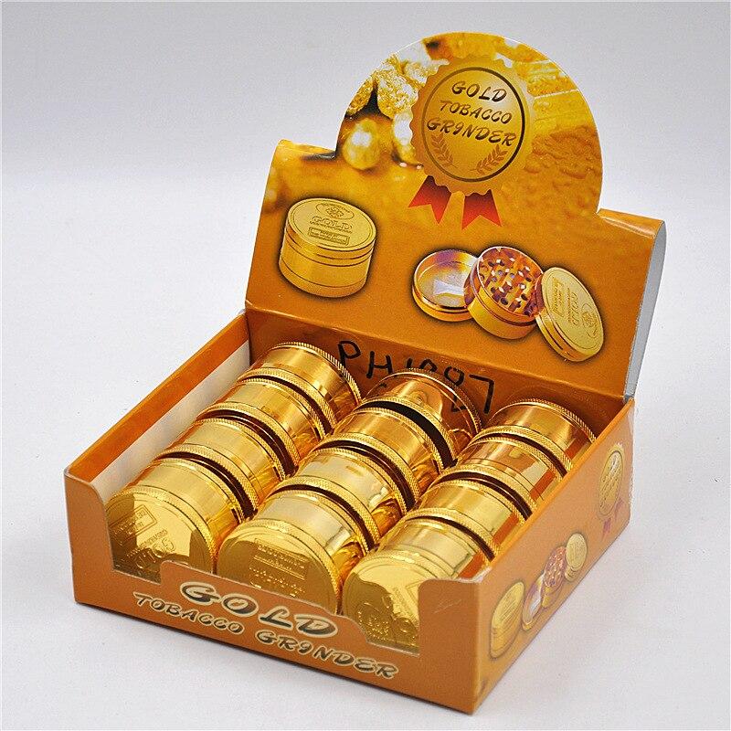 10pcs lot wholesale metal crusher for men gold grinder weed amoladora for men cigarette smoking tool