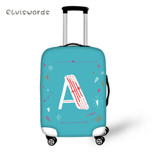 ELVISWORDS 26 English Letters Printed Travel Luggage Cover Pretty for Girls Boys Suitcase Protective High Elasticity Case