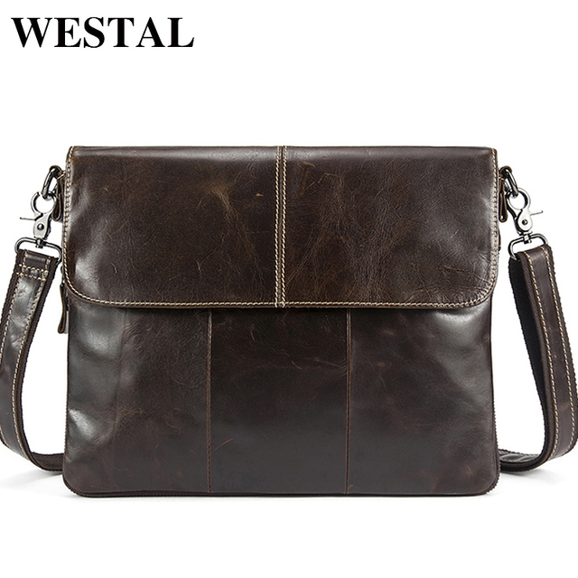 WESTAL Genuine Leather bag Men Bags Messenger casual Men's  leather bag clutch crossbody bags male shoulder Handbags 8007