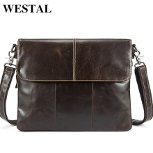 WESTAL Genuine Leather bag Men Bags Messenger laid-back Men's luggage natural leather clutch crossbody bags carry Handbags 2017 NEW