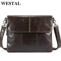 WESTEL Male Messenger Bag Men's Shoulder Bags Men's Genuine Leather Bag Crossbody Bags for Men Cover &Zipper Man Handbags 8007