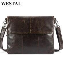 WESTEL Men's Shoulder Bag Men Leather Messenger Crossbody Bags for Men Genuine Leather Bag Male Shoulder Men's Clutch Bags 8007