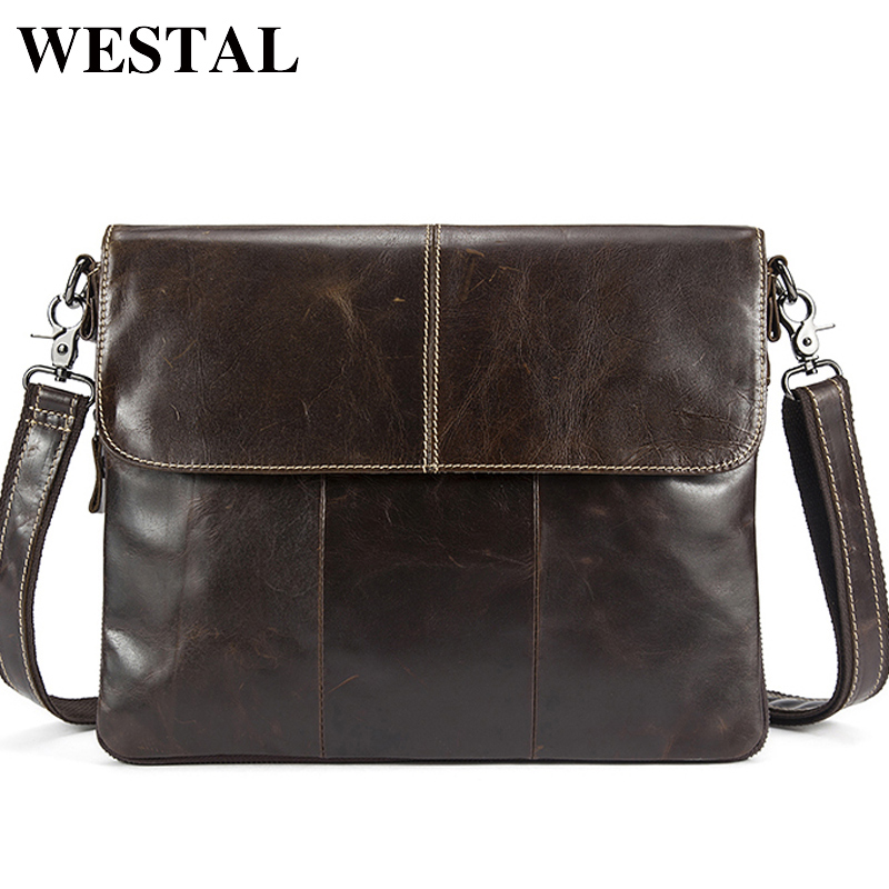 WESTEL Men's Shoulder Bag Men Leather Zipper Crossbody Messenger Bags Male Genuine Leather Bag For Men Men's Clutch Bags 8007
