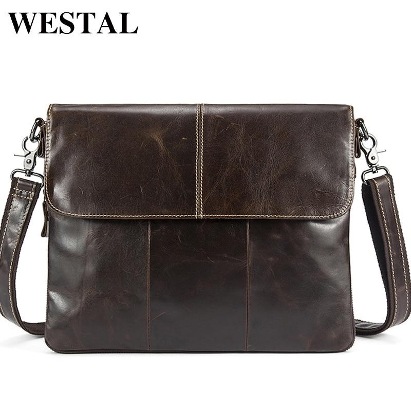 WESTEL Men's Shoulder Bags Genuine Leather Men's Leather Bag Messenger/Crossbody Bags For Men Bag Male Clutches Handbags 8007