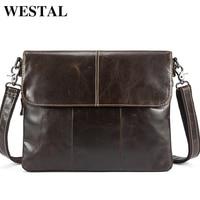 WESTEL Bag Men's Genuine Leather Crossbody Bags for Men Cover &Zipper Male Messenger Bag Men's Shoulder Bags Man Handbags 8007