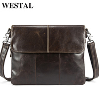 WESTEL Men's Shoulder Bags Genuine Leather Men's Leather Bag Messenger/Crossbody Bags for Men Bag Male Clutches Handbags 8007
