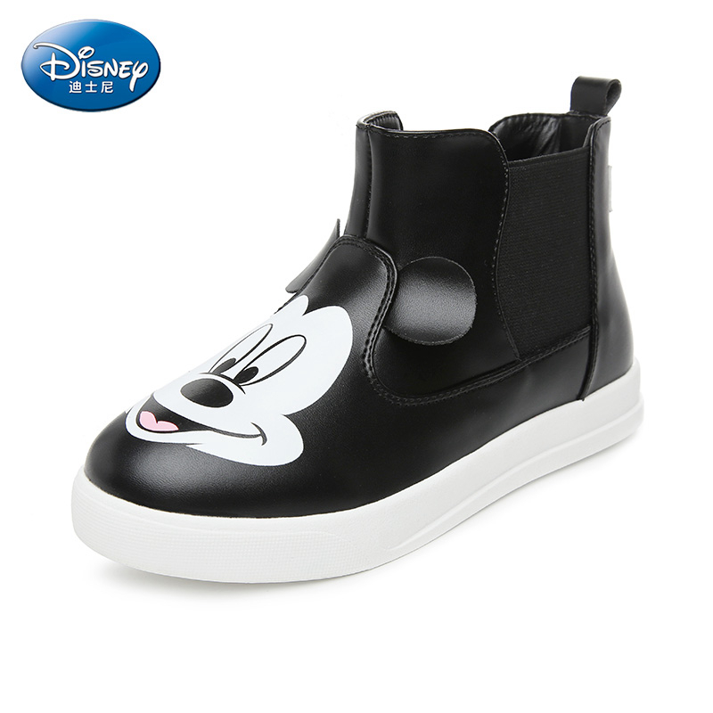 Disney Black Winter Mickey Design Boots Children Fashion Velvet Flat Casual Shoes Girl Boy  Pu Snow Boots DS2314 бумажник disney ep2251 03 pu ep2251 03