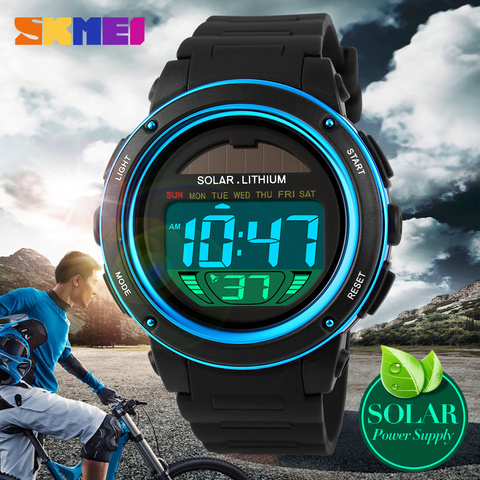 NEW SKMEI Brand Watch Solar energy Men Electronic Sports Watches Multifunctional Outdoor Water Resistant Digital Wristwatches Multan