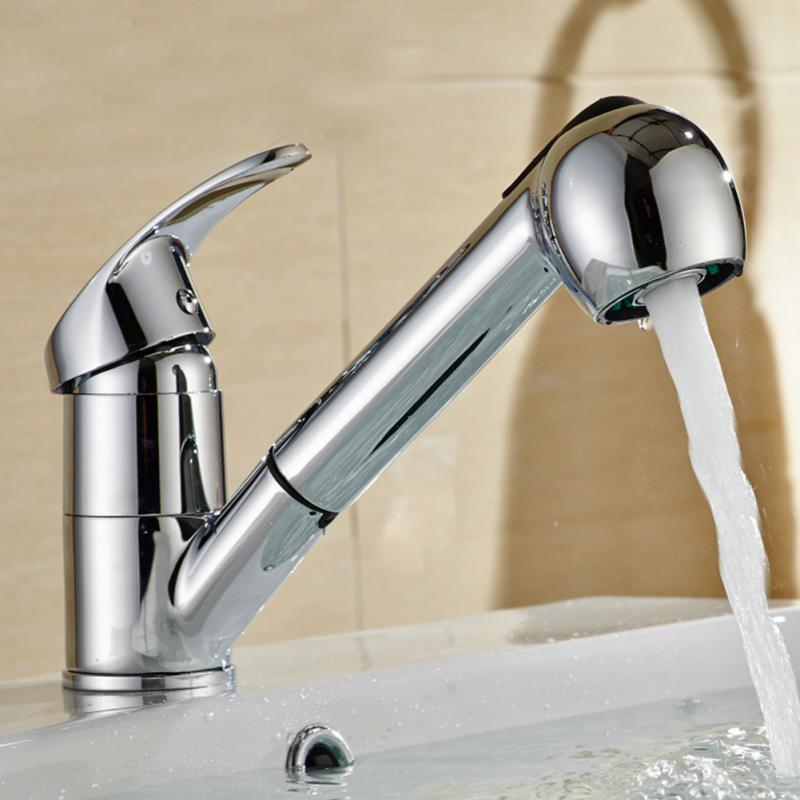 Rotatable Pull Down Single Handle Basin Faucet Lever Pull Out Sprayer Shower Kitchen Sink Water Tap