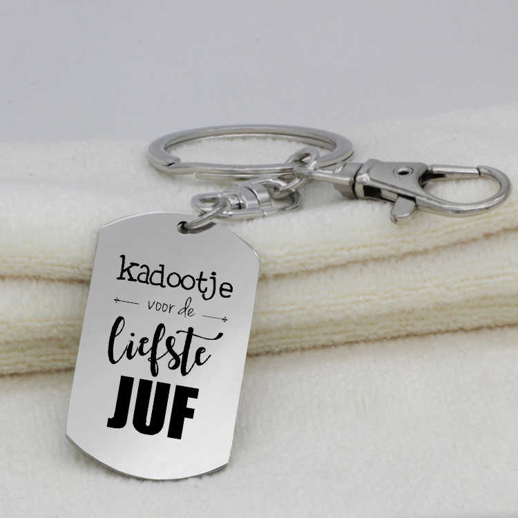 Liefste Juf Keychain 2019 Top Selleing Dog Tag Pendant Keyring Jewelry for Teacher YP6929 Drop Shipping