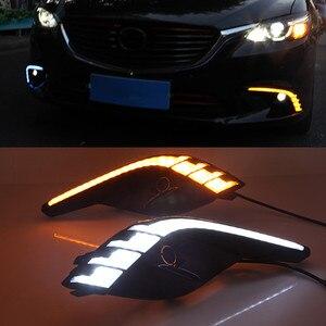 Image 1 - Auto Blinkt 2Pcs DRL Für Mazda 6 Mazda6 Atenza 2016 2017 2018 LED Tagfahrlicht Tageslicht mit gelb blinker