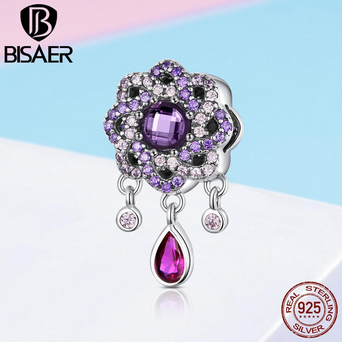 BISAER Genuine 925 Sterling Silver Purple CZ Flower Charms Zircon Geometric Flower Beads fit for Silver 925 Jewelry ECC1075
