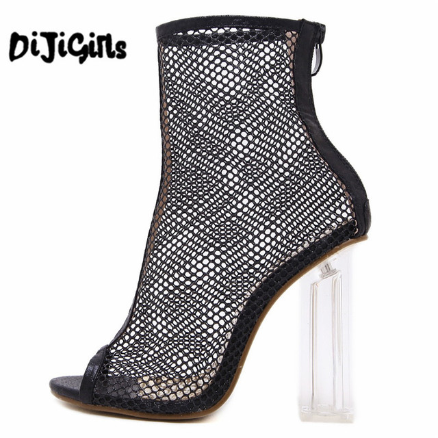 Women Summer Ankle Boots Mesh Cut Out Hollow Peep Toe Bootie Shoes Woman  Transparent Block Thick High Heel Sandals 94a175a8a40f