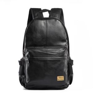 Image 2 - 3つのボックス2017ブランドレザー男性のバックパックファッション三色トラベルバックパックラップトップバッグヴィンテージ革スクールバッグ週末バッグ