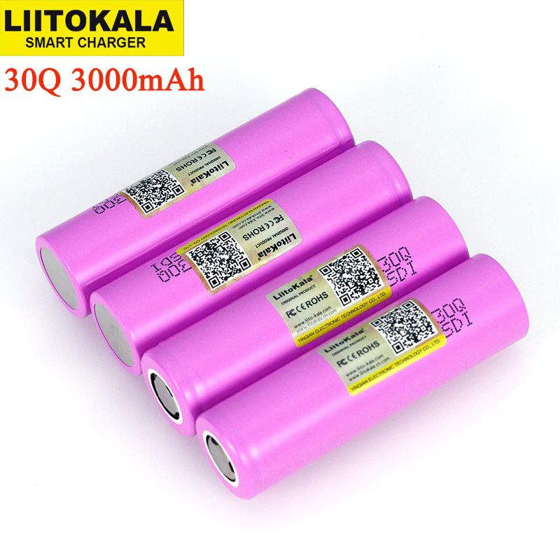 Liitokala 3.7V 18650 Original INR18650 30Q 3000mAh lithium Rechargeable battery Discharge 15A 20A Batteries-in Replacement Batteries from Consumer Electronics