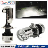 BraveWay H4 Mini Bi LED Projector Lens Headlight Motorcycle Auto Lamp LED Bulb 12V High Beam Low Beam All in One Car Lights