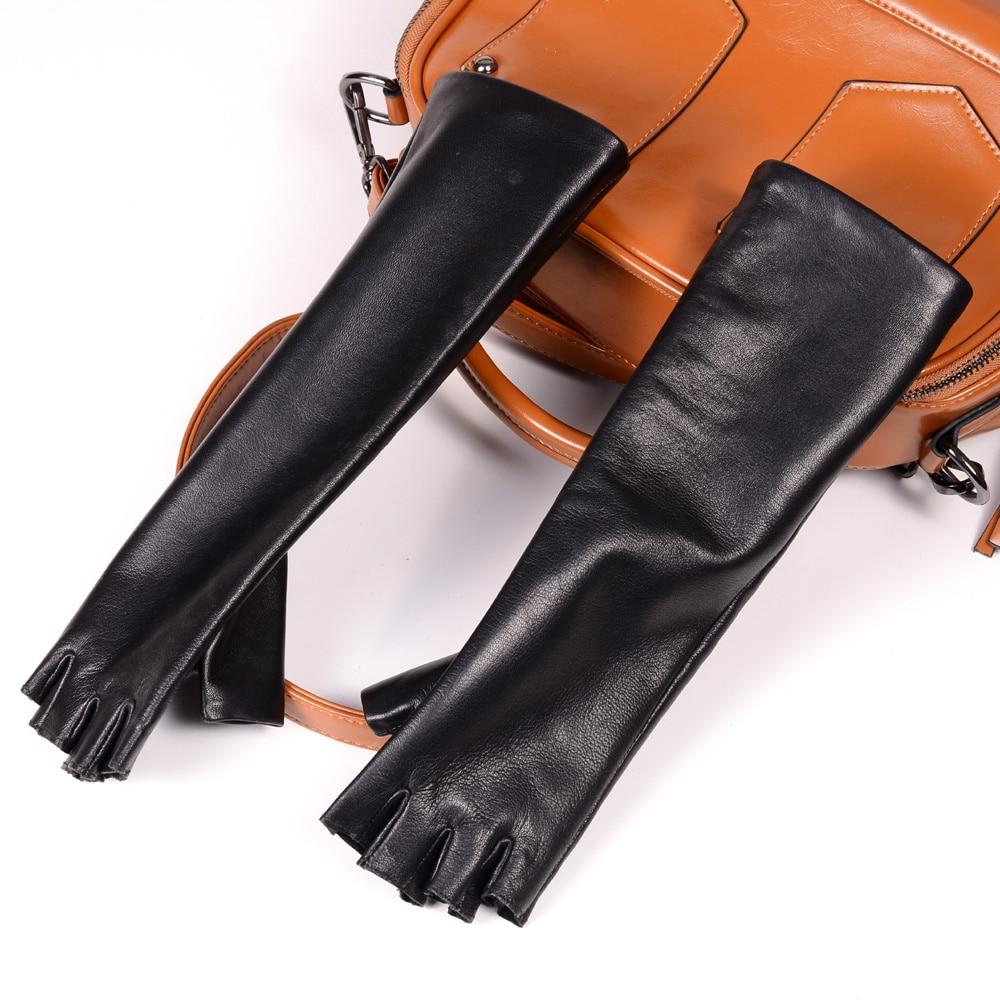 New Women's Ladies Genuine leather Sheep Skin long gloves evening party gloves Half-Finger Fingerless Gloves