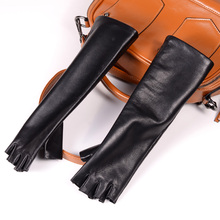 New Womens Ladies Genuine leather Sheep Skin long gloves evening party Half-Finger Fingerless Gloves