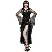 Готический Для женщин длинное платье с капюшоном стимпанк Черный с длинным рукавом длиной до пола Длина платье Хэллоуин костюм жрица плать