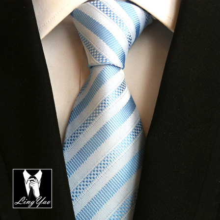 Brand New Fashion 8cm Design Ties Business Blue with White Striped Necktie Jacquard Woven Gravatas for Adult