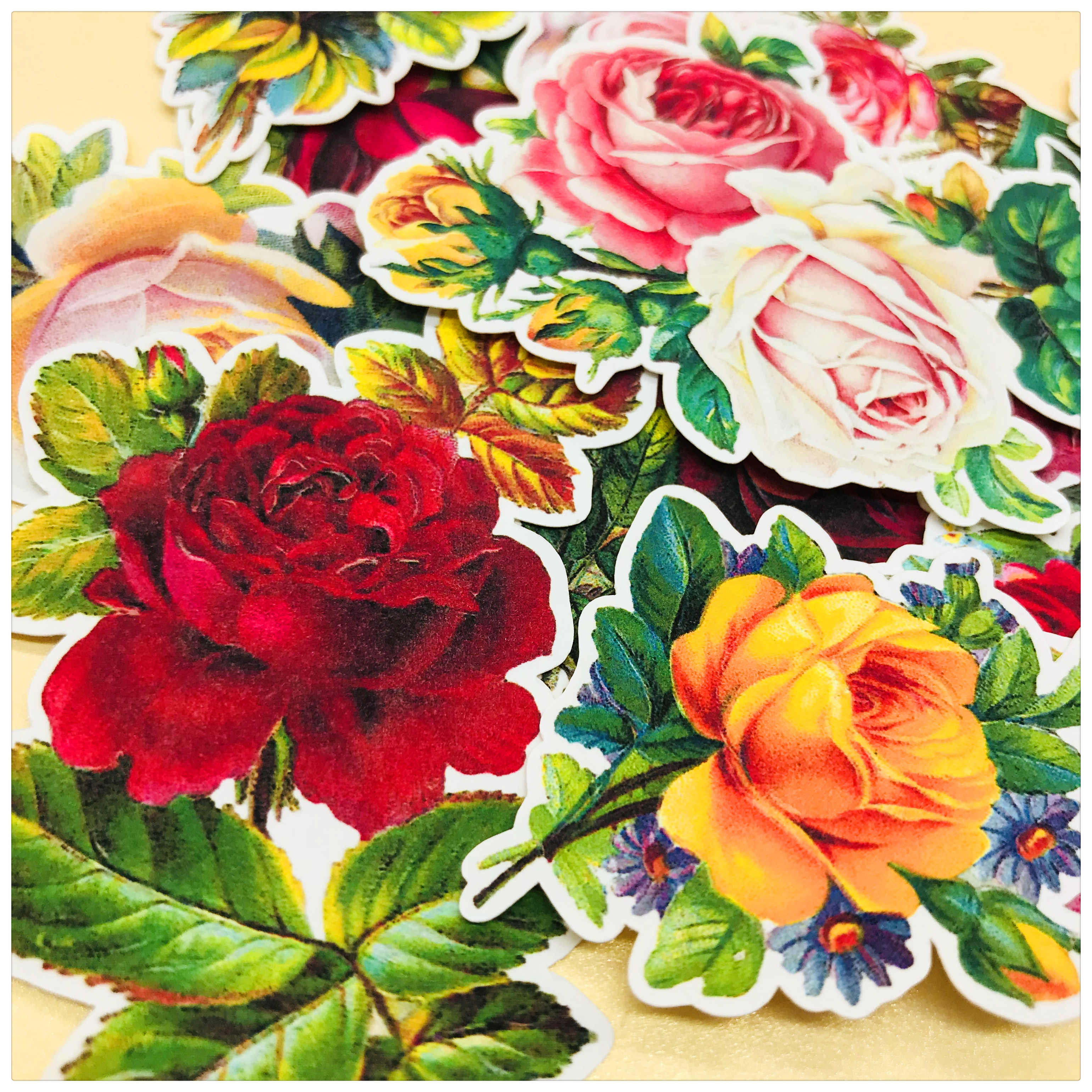19pcs Red Rose Pink Rose And Yellow Rose Decoration Stationery Sticker Diy Diary Scrapbooking Label Sticker Stationery