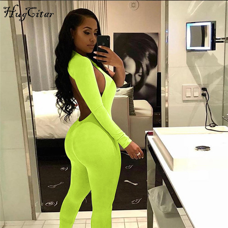 Hugcitar single one long sleeve high wait backless sexy strtchy body 2018 autumn winter women new fashion solid jumpsuit(China)