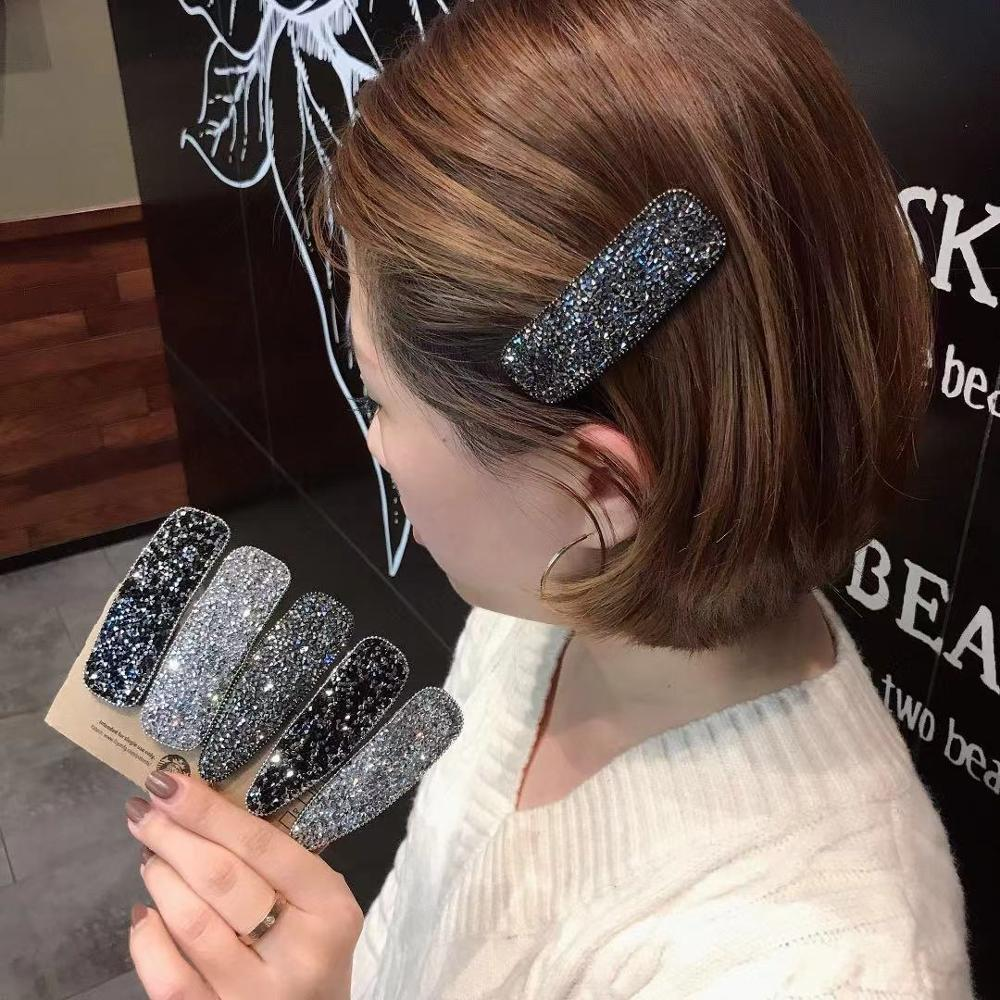 New Rhinestone Elegant Hair Clips For Women Square Oval Party BB Hairpins Water Shape Girls Hairgrip Barrette Cheveux Fille