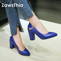 ZawsThia 2019 spring autumn thick block high heels shoes fashion classic pumps blue off white shoes brand women stilettos shoes