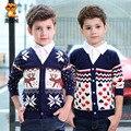 2017 новых осенью и зимой детская одежда с длинным рукавом letter pattern олень свитер дети ребенка кардиган свитер случайный верхней одежды