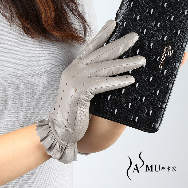 New Spring Women's Genuine Leather Mittens Female Glove Fashion Style Leather Gloves 100% Sheepskin Gloves Female Driving Gloves