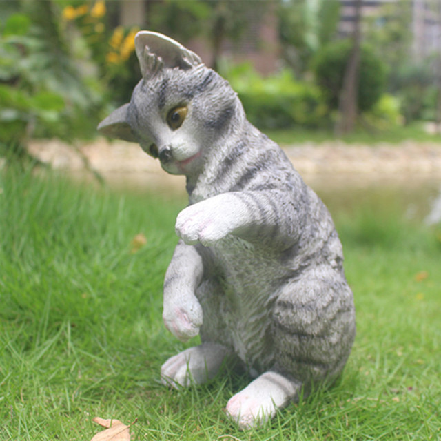 Simulation resin cat ornaments resin crafts Tianyuan Ting courtyard garden furnishings Home Decorations