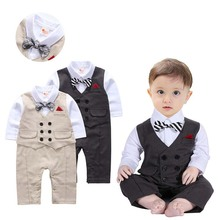 JXYSY New born baby clothes Set cotton Baby long sleeve romper fashion Gentleman Bow Baby romper Kids Outwear 0-18 Months