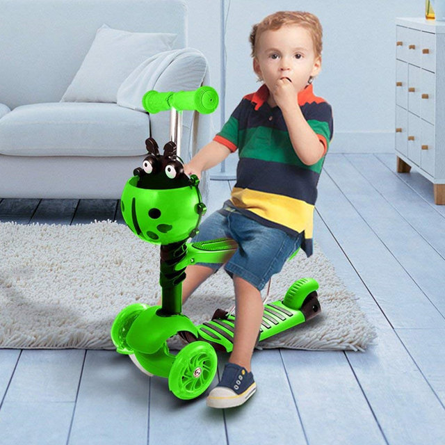 JayCreer Scooter For Toddlers Kids With Seat – Adjustable Detachable Portable Kid Scooter For 2-10 Years Kids
