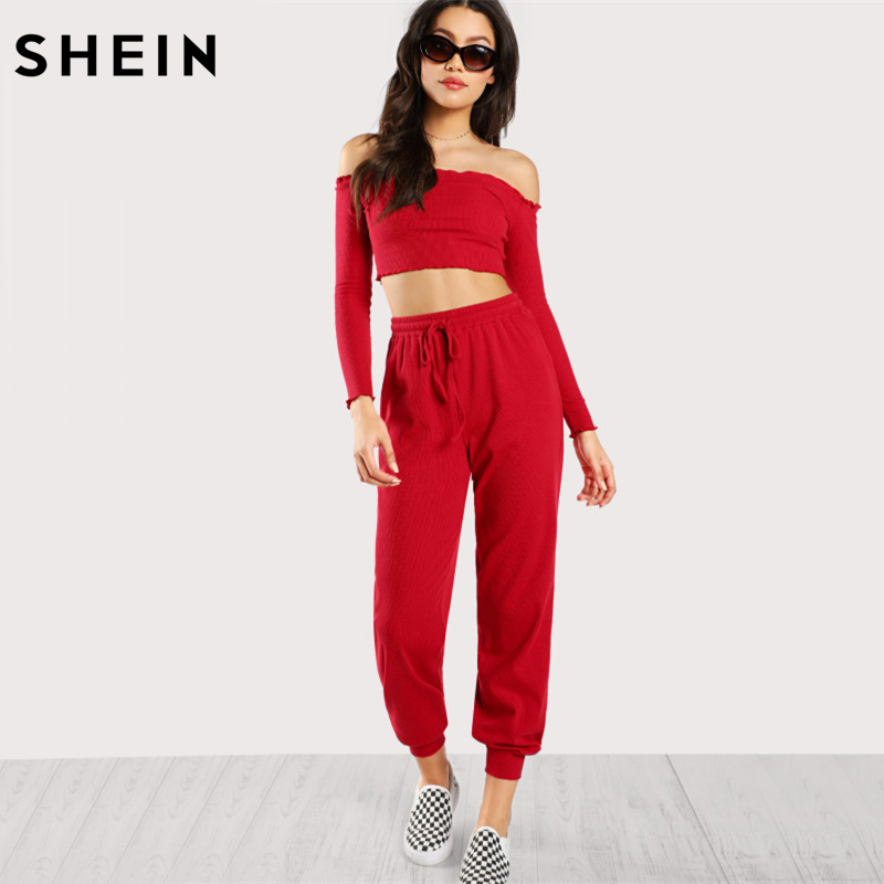 f998b624c3 SHEIN Red Two Piece Set Casual Womens Clothing Off the Shoulder Long Sleeve  Lettuce Trim Crop Bardot Top and Pants Set-in Women's Sets from Women's  Clothing ...