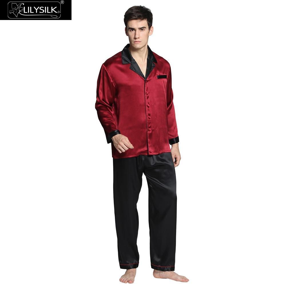 5477151ffbc2a LilySilk пижама мужская шелковая домашняя одежда для мужчин 22 Momme  глубокий углового установленные для короткий рукав летняя 2018 комплект шелк  бесплатная ...