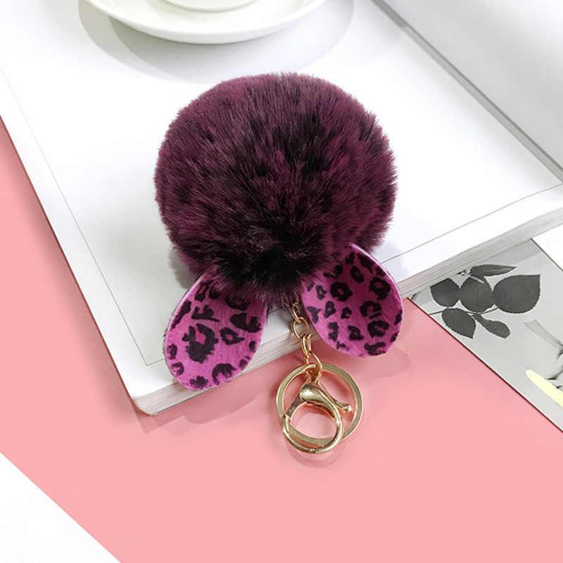 น่ารักขนสัตว์ Fox พวงกุญแจ Pom Pom Key Chain กระเป๋าถือ Fluffy Key กระเป๋า Key ผู้ถือ Porte Clef llaveros สำหรับหญิง