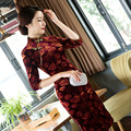 Long New Vintage Modified Velvet Dress Cheongsam Classical Fashion Velvet with Plus Size 3XL Cheongsam