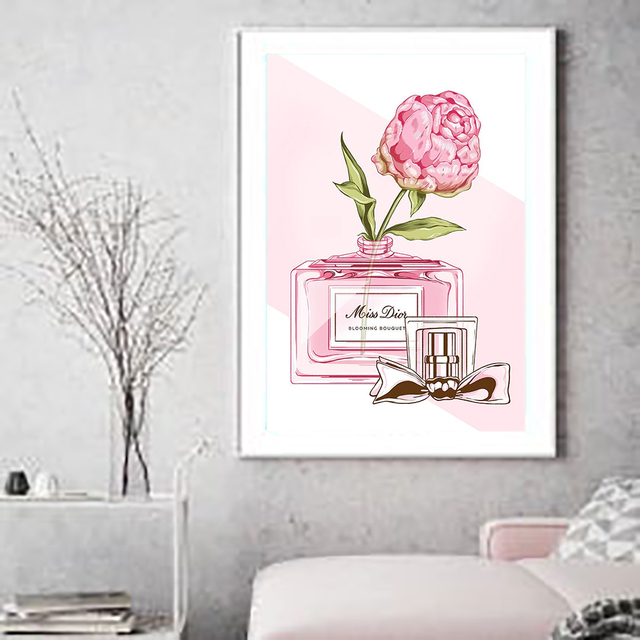 d84f3edde Canvas Painting Pink Peony Bottle Flower Nordic Wall Art Poster Prints  Decoration Pictures Living Room framed Home Decorative