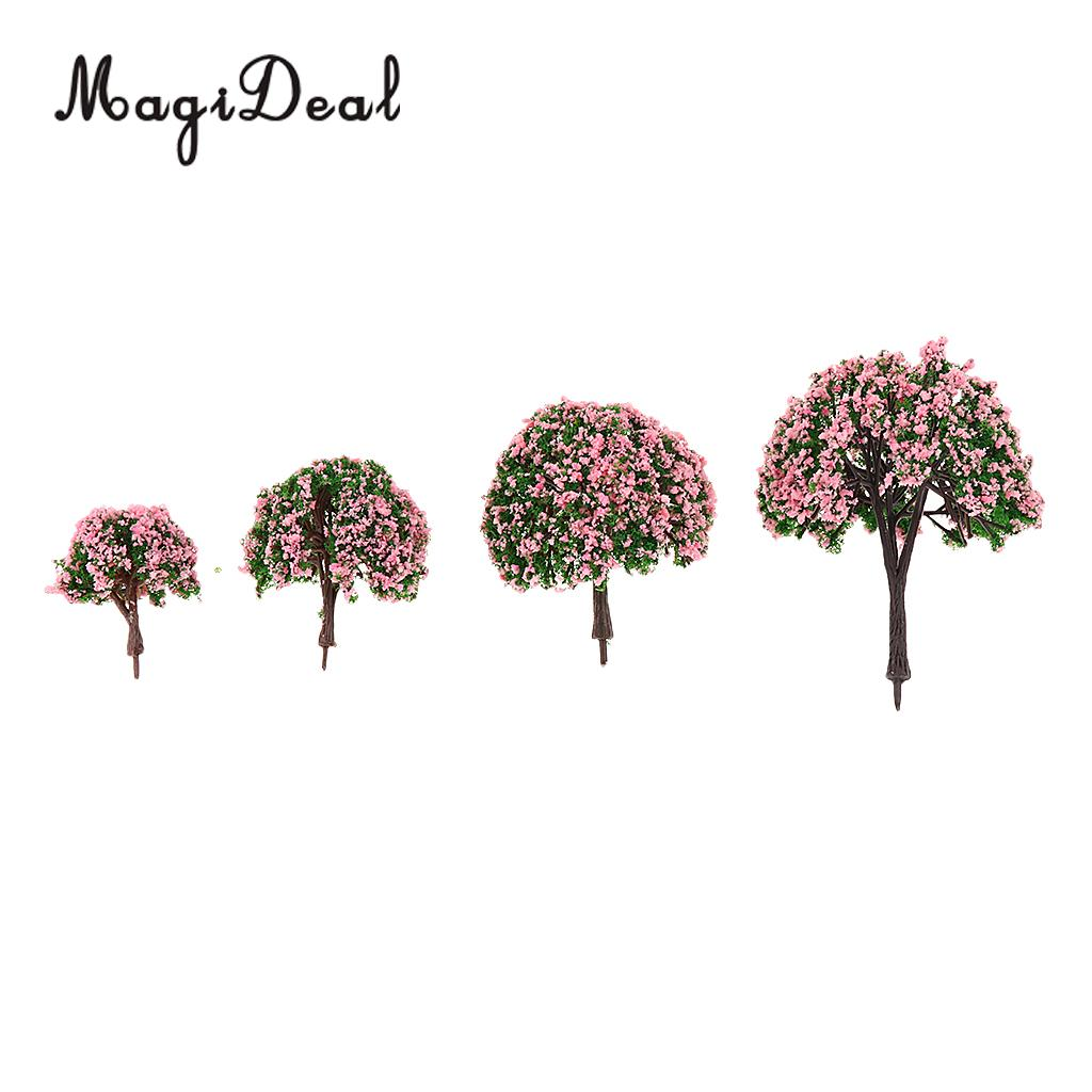 MagiDeal 4Pcs/Lot Scenery Landscape Plastic Model Trees with Pink Flowers for Street Railway Forest Garden House Decor Layout