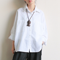 Women Blouses White Black Color Long Sleeve Turn Down Collar Women Tops Cotton Linen Women Shirts
