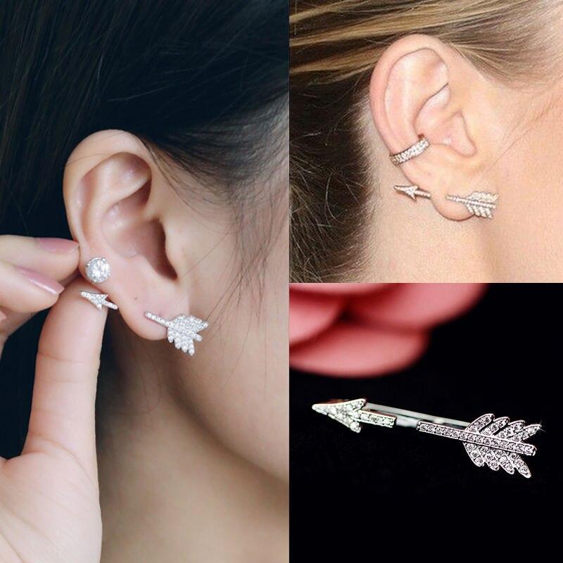 Hot 1 Pc Women Lady Girl Trendy Creative Fashion Chic Bow Arrow Crystal Ear Stud Earrings