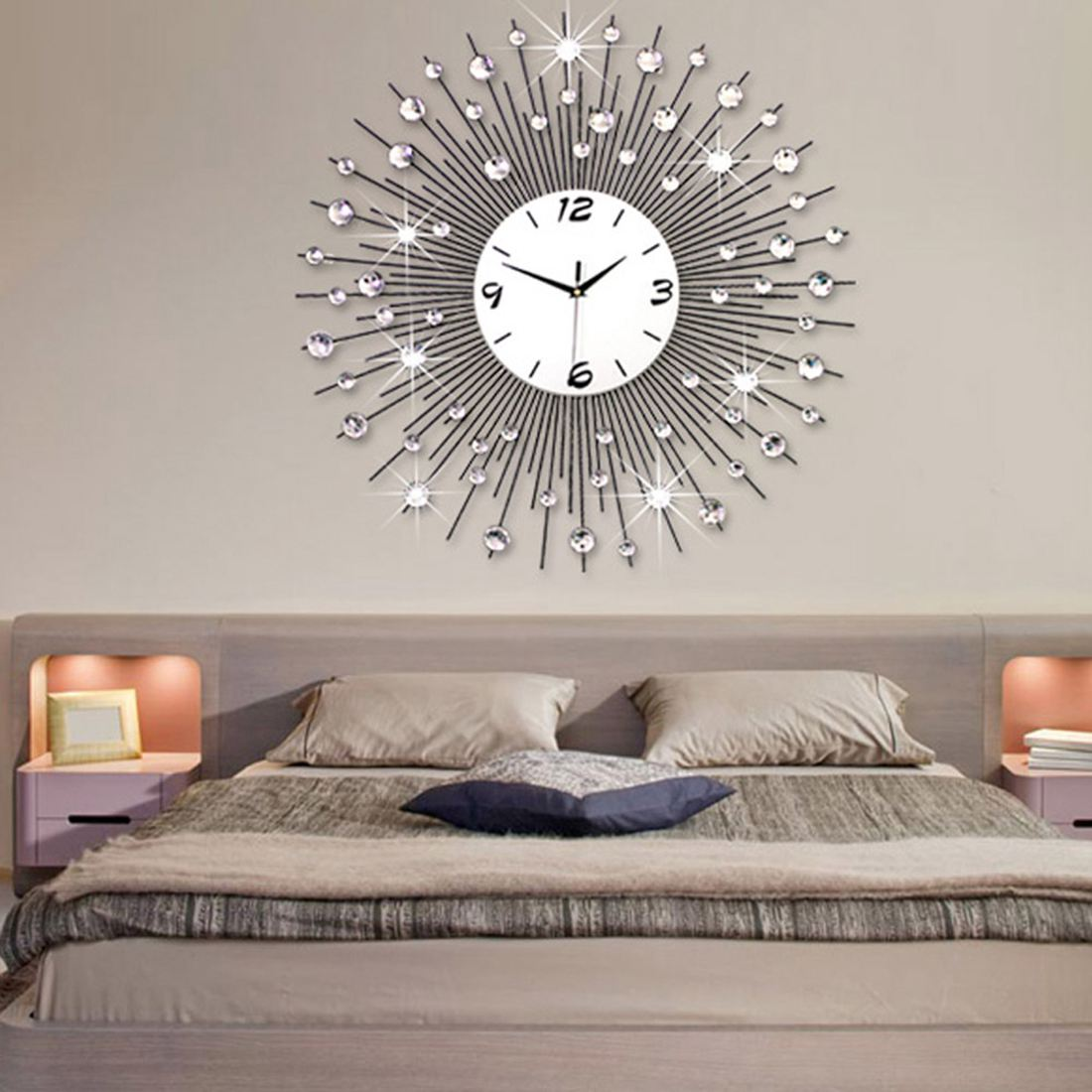 Szs 뜨거운 현대 스타일 60 cm diy 대형 라운드 금속 벽시계 홈 오피스 장식 석영 이동 화이트-에서벽결이 시계부터 홈 & 가든 의  그룹 1