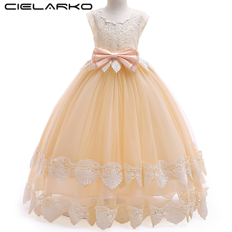 Cielarko Girls Party Long Dress Formal Lace Kids Prom Ball Gown for Princess Tulle Wedding Birthday Dress Style Children Frock цены онлайн