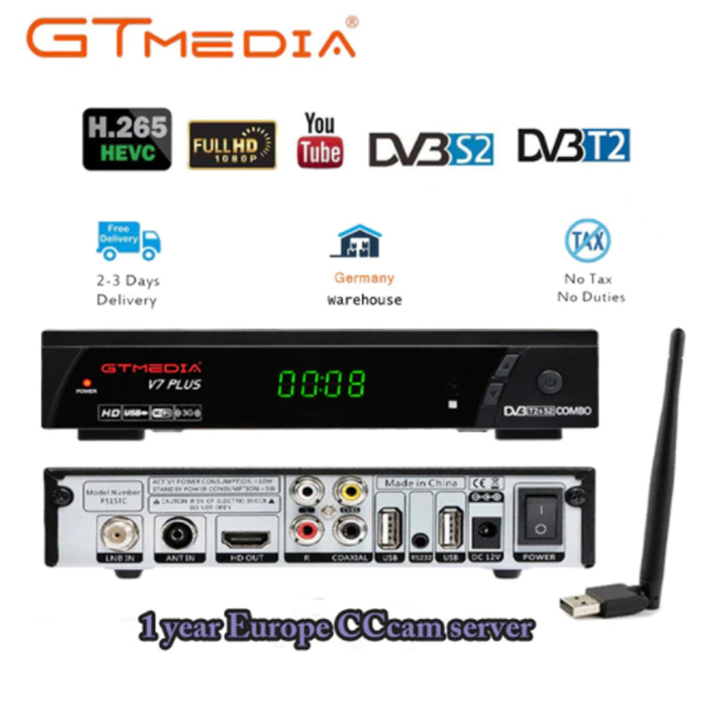 100% Original GTMEDIA V7 PLUS DVB-S2 DVB-T2 Satellite TV Combo Receiver H.265+Spain Italy Poland Cccam 5 Cline PK V7S HD Decoder