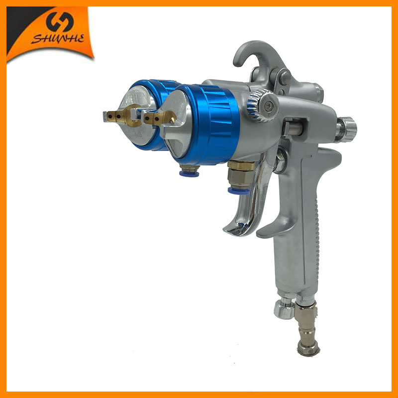 цена на SAT1189 high pressure dual nozzle spray gun air gun paint sprayer double head sprayer nano chrome  foam sprayer
