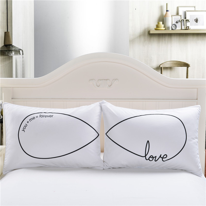 1Pair(2pcs) White <font><b>Pillow</b></font> <font><b>Cases</b></font> Bedding For Couple Personalized Forever Love Pillowcases Cover Wedding Gift 50X75cm <font><b>50X90cm</b></font> image
