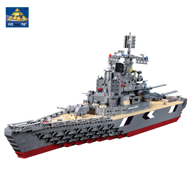 KAZI Military 1297pcs Bismarck CRUISER battleship Building Blocks world warII Educational model toys Brinquedos gifts for boy enlighten building blocks military cruiser model building blocks girls
