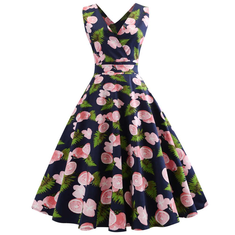 8a284a737d3 Wipalo женщин 5XL 50 s ретро платье с лимонным принтом без рукавов весна  лето платье Feminino